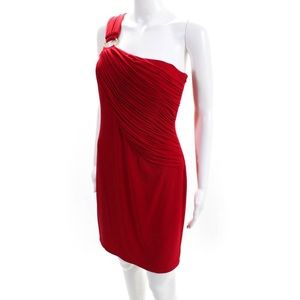 CALVIN KLEIN Size 6 One Shoulder Ruched Red Dress